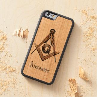 Coque Pare-chocs En Cerisier iPhone 6 Esprits maçonniques (d'or)