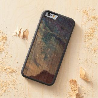 Coque Pare-chocs En Cerisier iPhone 6 L'eau blanche bleue triste de vague de peinture