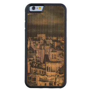 Coque Pare-chocs En Cerisier iPhone 6 Vue aérienne de scène de nuit de paysage urbain de