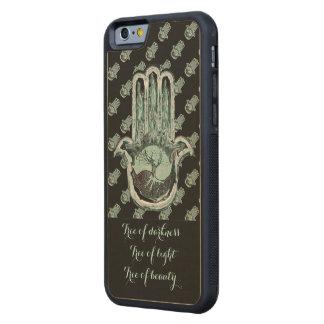 Coque Pare-chocs En Érable iPhone 6 Arbre de léger et de l'obscurité (main de Hamsa)