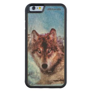 Coque Pare-chocs En Érable iPhone 6 Loup pourpre avec les yeux jaunes dans la peinture