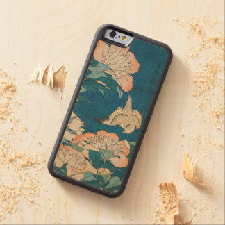 Coque Pare-chocs En Érable iPhone 6 Pivoines de Hokusai et GalleryHD vintage jaune