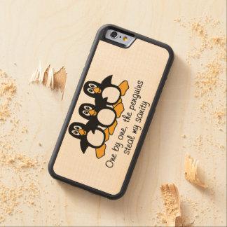 Coque Pare-chocs En Érable iPhone 6 Un l'énonciation drôle de pingouins