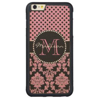 Coque Pare-chocs Mince En Érable iPhone 6 Plus Parties scintillantes roses et damassé noire, nom