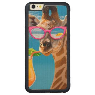 Coque Pare-chocs Mince En Érable iPhone 6 Plus Plage de girafe - girafe drôle