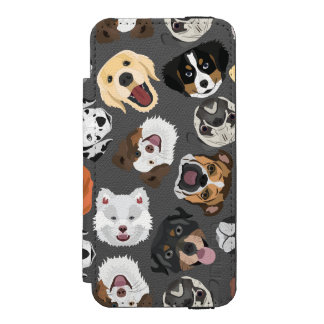 Coque-portefeuille iPhone 5 Incipio Watson™ DogPattern01_02_B_Quadrat.ai
