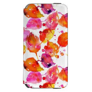 Coque-portefeuille iPhone 6 Incipio Watson™ Beau motif de feuille d'automne d'aquarelle