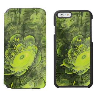 Coque-portefeuille iPhone 6 Incipio Watson™ Belle peinture vert jaunâtre de fleur de fractale