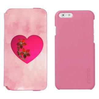 Coque-portefeuille iPhone 6 Incipio Watson™ Coeur rose incrusté de bijoux sur l'aquarelle rose