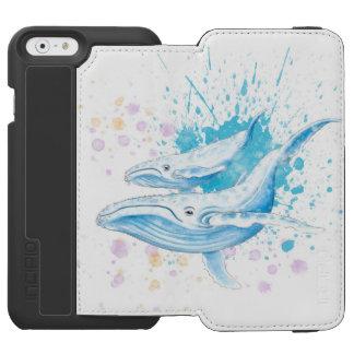 Coque-portefeuille iPhone 6 Incipio Watson™ Éclaboussure de couleur de baleines bleues