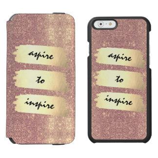 Coque-portefeuille iPhone 6 Incipio Watson™ Étincelle rose de feuille d'or de Faux d'or +