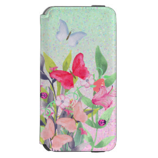 Coque-portefeuille iPhone 6 Incipio Watson™ Fleurs et papillons roses et rouges d'aquarelle