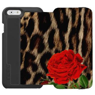 Coque-portefeuille iPhone 6 Incipio Watson™ GUÉPARD et ROSE ROUGE