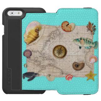 Coque-portefeuille iPhone 6 Incipio Watson™ La marine prise la carte vintage beige Teal