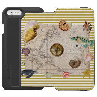 Coque-portefeuille iPhone 6 Incipio Watson™ La marine prise les rayures jaunes de moutarde