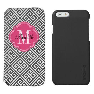 Coque-portefeuille iPhone 6 Incipio Watson™ Monogramme principal grec de noir et de rose