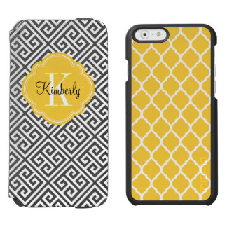 Coque-portefeuille iPhone 6 Incipio Watson™ Monogramme principal grec noir et jaune