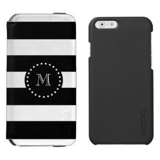 Coque-portefeuille iPhone 6 Incipio Watson™ Motif noir et blanc de rayures, monogramme noir