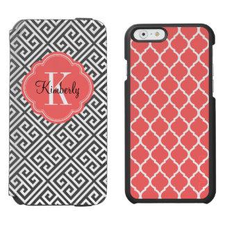 Coque-portefeuille iPhone 6 Incipio Watson™ Noir et monogramme principal grec de corail
