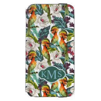 Coque-portefeuille iPhone 6 Incipio Watson™ Oiseau et monogramme exotique du motif de fleur |
