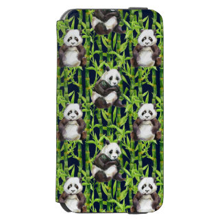 Coque-portefeuille iPhone 6 Incipio Watson™ Panda avec le motif en bambou d'aquarelle