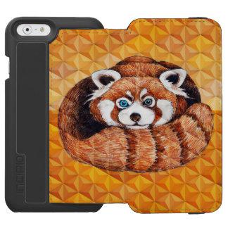 Coque-portefeuille iPhone 6 Incipio Watson™ Panda rouge sur le cubisme orange Geomeric