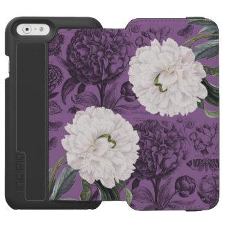 Coque-portefeuille iPhone 6 Incipio Watson™ Romantique pourpre de pivoine blanche