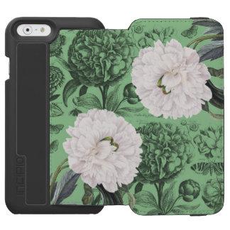 Coque-portefeuille iPhone 6 Incipio Watson™ Vert blanc de pivoine romantique