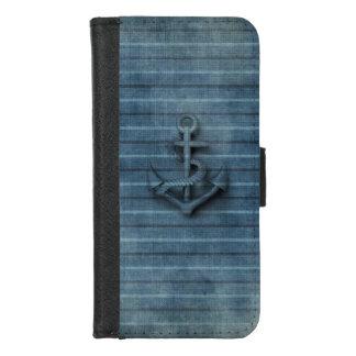 Coque Portefeuille Pour iPhone 8/7 Ancre vintage moderne de denim nautique