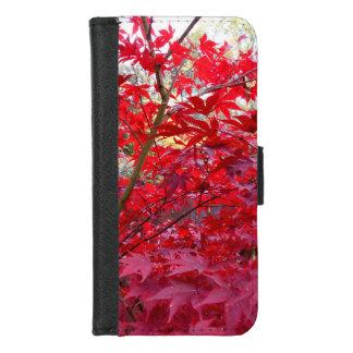 Coque Portefeuille Pour iPhone 8/7 Arbre d'érable rouge