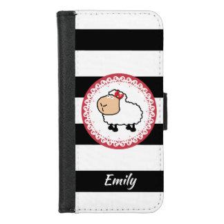 Coque Portefeuille Pour iPhone 8/7 Barre le monogramme girly drôle mignon de moutons