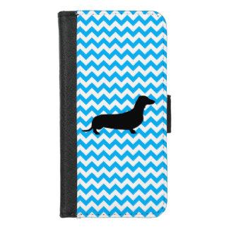 Coque Portefeuille Pour iPhone 8/7 Bleus layette Chevron avec le teckel