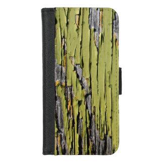 Coque Portefeuille Pour iPhone 8/7 Bois vert criqué et patiné usé de grange