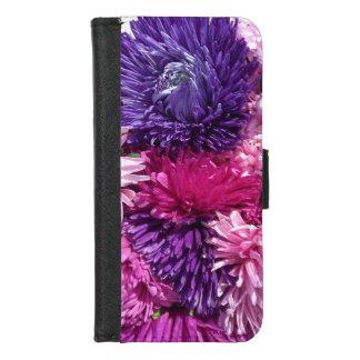 Coque Portefeuille Pour iPhone 8/7 Chrysanthèmes roses et pourpres