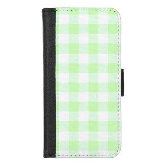 Coque Portefeuille Pour iPhone 8/7 Contrôle de guingan vert clair