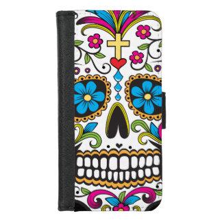 Coque Portefeuille Pour iPhone 8/7 Crâne coloré de sucrerie