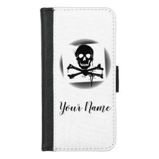 Coque Portefeuille Pour iPhone 8/7 Crâne de drapeau de pirate et jolly roger d'os