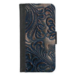 Coque Portefeuille Pour iPhone 8/7 Cuir de relief par cru usé de Brown foncé