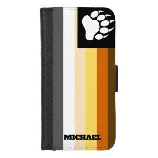 Coque Portefeuille Pour iPhone 8/7 D'ours de fierté de drapeau d'ours de patte de nom