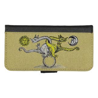 Coque Portefeuille Pour iPhone 8/7 Dragons d'alchimie d'or et d'argent