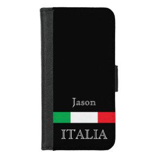 Coque Portefeuille Pour iPhone 8/7 Drapeau de l'Italie sur le noir avec le nom