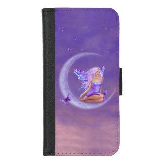 Coque Portefeuille Pour iPhone 8/7 Fée de papillon de lune de lavande