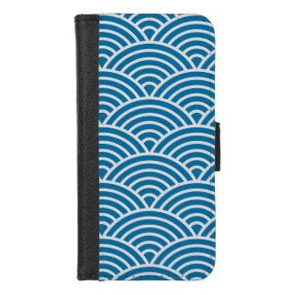 Coque Portefeuille Pour iPhone 8/7 Festons bleus et blancs à la mode de Seigaiha