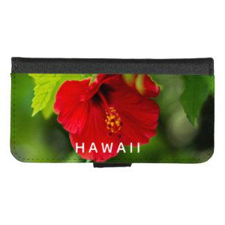 Coque Portefeuille Pour iPhone 8/7 Fleur tropicale d'Hawaï de ketmie rouge