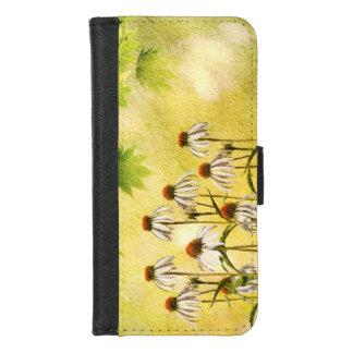 Coque Portefeuille Pour iPhone 8/7 Fleurs blanches lumineuses et gaies d'echinacée