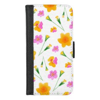Coque Portefeuille Pour iPhone 8/7 Fleurs jaunes et roses d'aquarelle