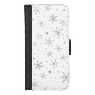 Coque Portefeuille Pour iPhone 8/7 Flocon de neige de scintillement - gris et Blanc