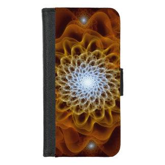 Coque Portefeuille Pour iPhone 8/7 Floral bleu-clair ambre de Brown d'or