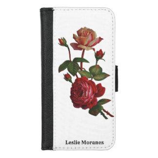Coque Portefeuille Pour iPhone 8/7 Floral vintage rose botanique rose élégant