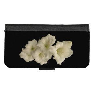 Coque Portefeuille Pour iPhone 8/7 Gladiola blanc sur l'iPhone noir 8/7 caisse de